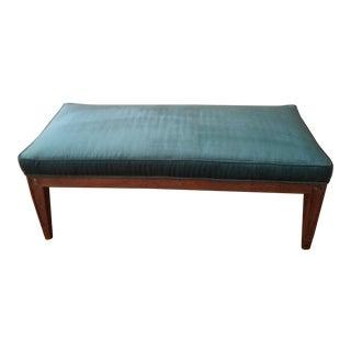 Vintage Italian Provincial Upholstered Oak Bench For Sale