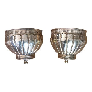 1970s Vintage Bohemian Reticulated Brass Planters - A Pair