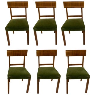 Walnut and Golden Birch Art Deco Dining Chairs For Sale