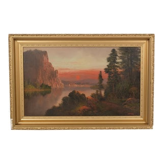 Sunset Landscape Near the River by a Cliff by Wm. Hart For Sale