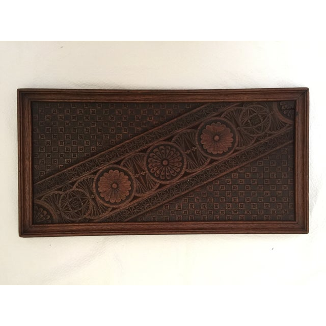 Vintage French wood tray with a nice carved design.
