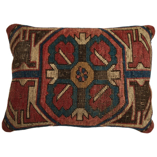 Antique Kazak Carpet Pillow For Sale