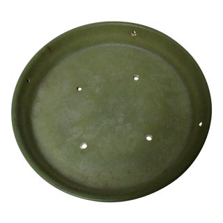Vintage Mid-Century Modern Olive Green Gainey Ceramics Planter Pot Saucer Dish Platter For Sale