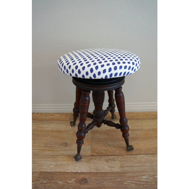 Vintage Turned Wood Piano Stool - Image 2 of 7