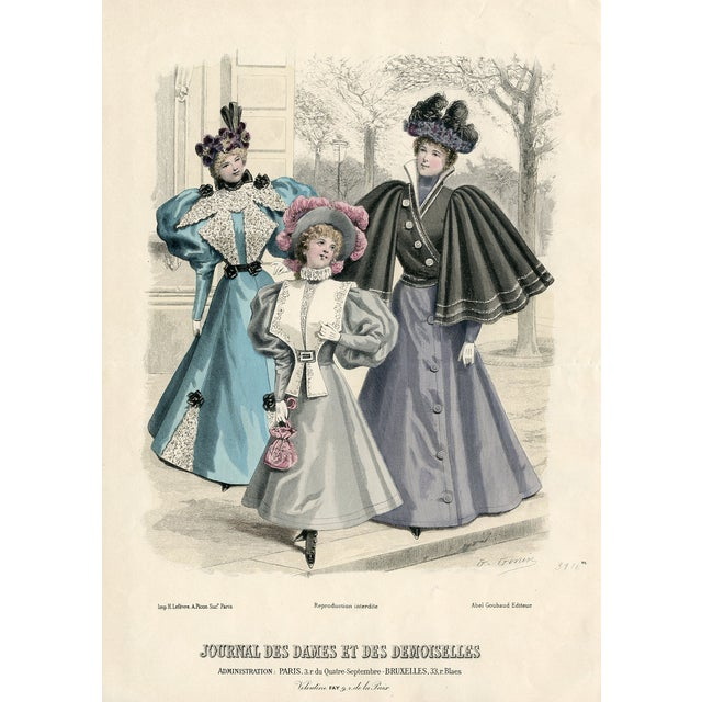 Vintage French Fashion Print 1888 For Sale
