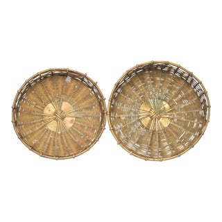 Mid-Century Shallow Woven Brass Baskets - A Pair For Sale