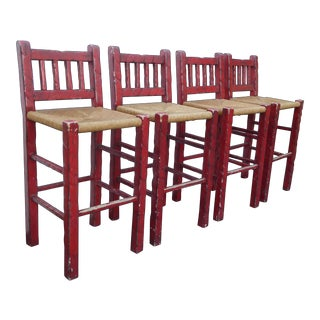 Set of Four Vintage Red Rustic French Country Rush Bar Stools For Sale