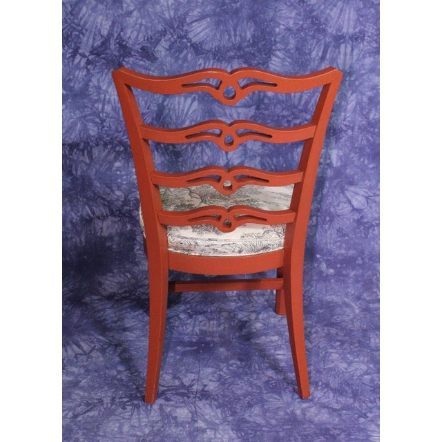 Red Painted Antique Dining Chairs - Set of 4