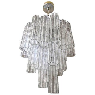 1960s Mid-Century Modern Venini Murano Tronchi Glass Chandelier
