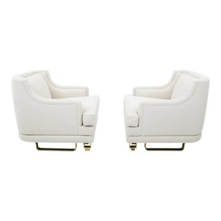 James Mont Lounge Chairs on Brass Bases For Sale
