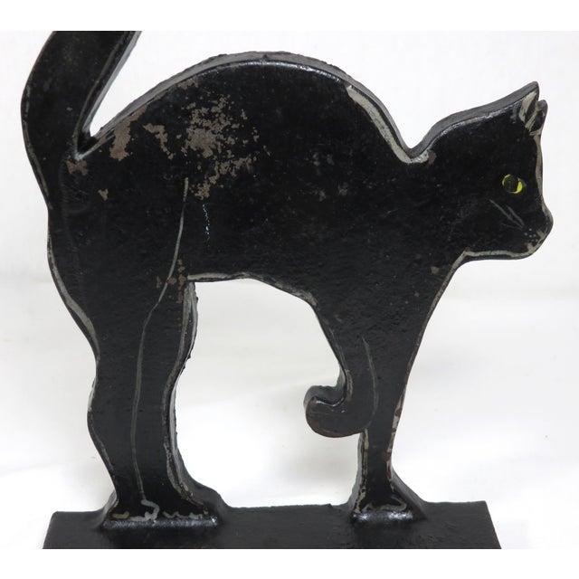 1920s 1920s Black Halloween Cat Cast Iron Doorstop For Sale - Image 5 of 13