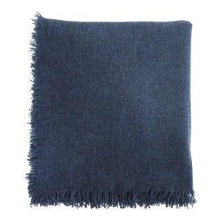 FirmaMenta Italian Denim Blue Wool Gauze Throw For Sale