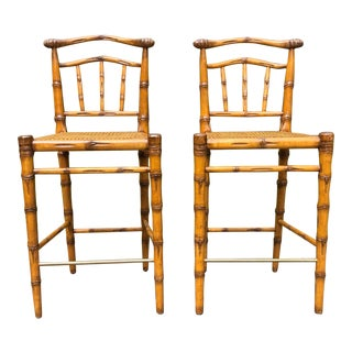Wicker Works Carlyle Bar Stools - a Pair For Sale
