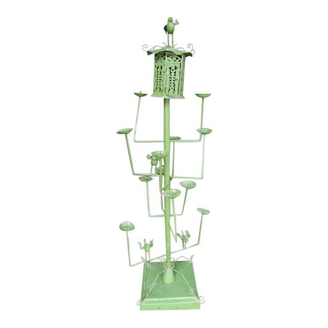 Vintage Green Wrought Iron Bird Motif 11 Candle Garden Fixture For Sale