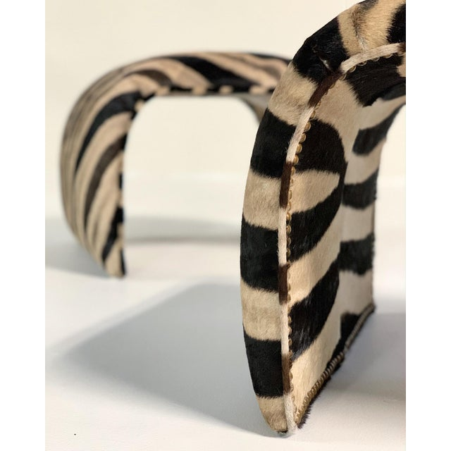 Late 20th Century Waterfall Ottomans in Zebra Hide, Pair For Sale - Image 5 of 9