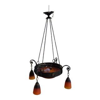 Antique Art-Deco Charles Schneider Blood Orange Glass Wrought Iron Edgar Brandt Chandelier C1920s For Sale