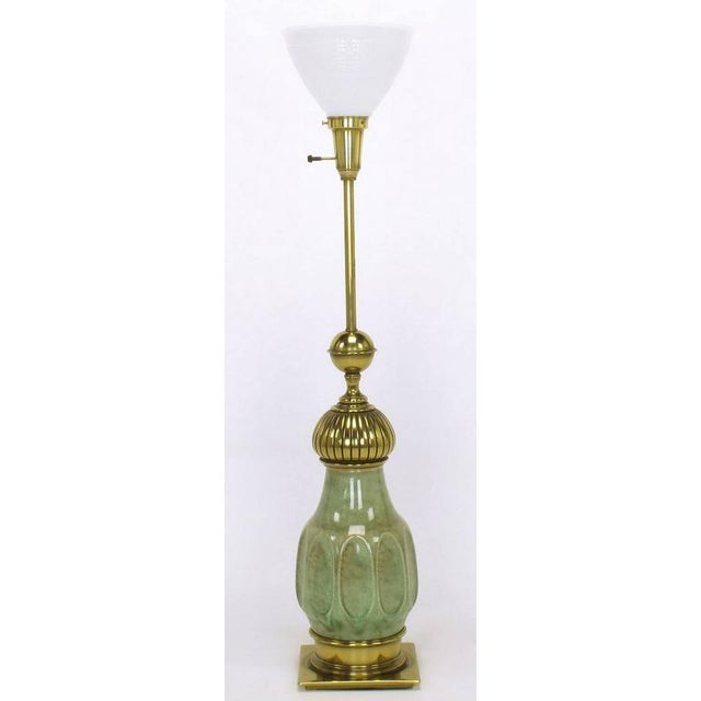 Pair of Stiffel Sea Foam Green Crackle Glaze and Brass Moorish Style Table Lamps - Image 3 of 7