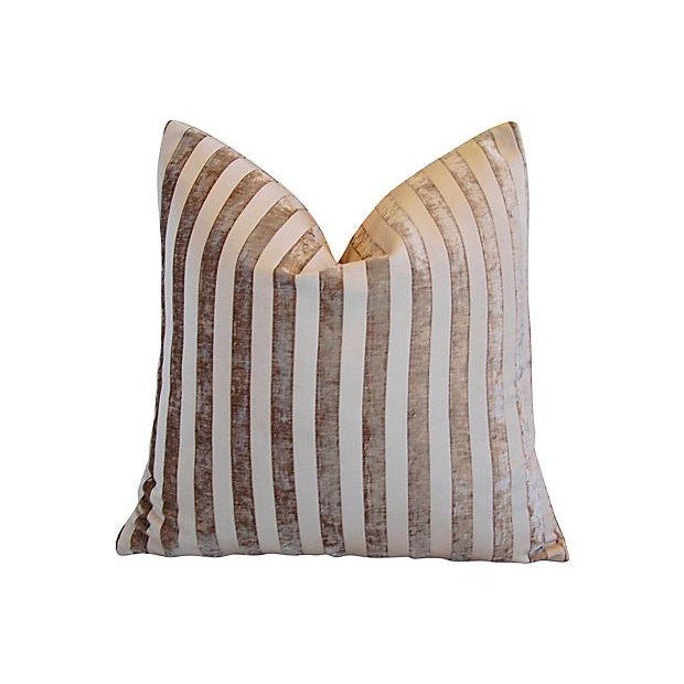"Early 21st Century Designer French Velvet Striped Feather & Down Pillows 24"" Square - Pair For Sale - Image 5 of 8"