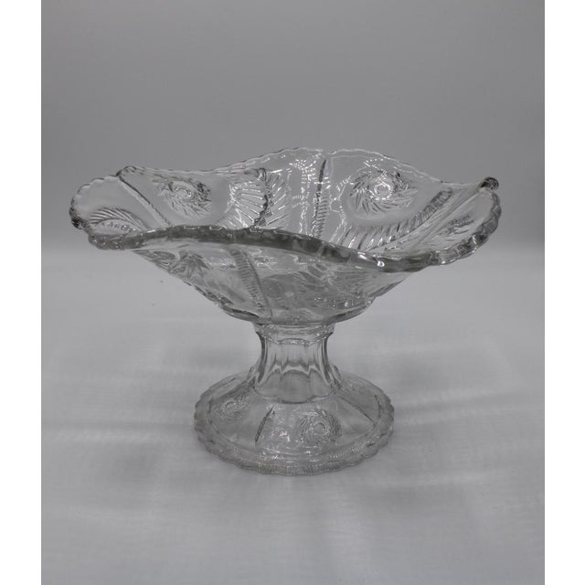 Glass Mid-Century French Crystal Cut Glass Compote For Sale - Image 7 of 13
