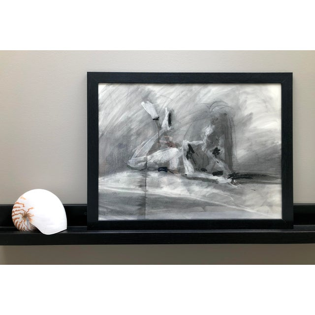 """This is an original figure drawing, drawn from a live model in charcoal by Artist David O. Smith, 2019. """"Idle, crossed..."""