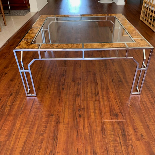 Chrome and Burl Wood Chippendale Style Square Coffee Table For Sale In San Diego - Image 6 of 9