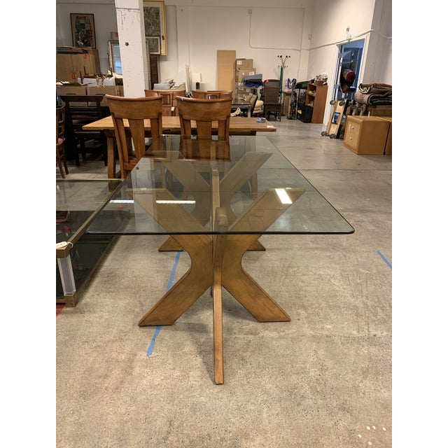 West Elm West Elm Double Pedestal Wood X Base + Glass Top Table For Sale - Image 4 of 8
