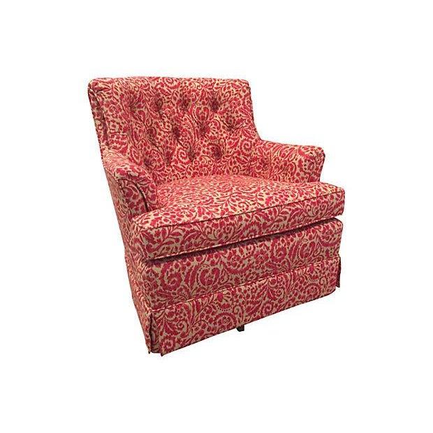 Woodmark Originals Tufted Swivel Club Chair | Chairish
