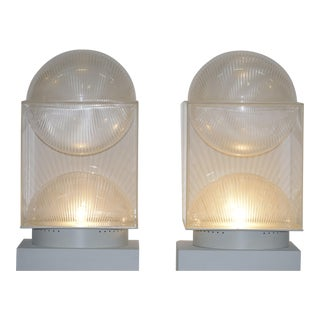 Pair of Missaglia Engraved Perspex Table Lamps For Sale