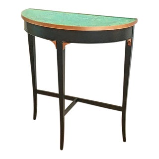 1980s Boho Chic Copper & Black Half-Round Entry/Side Table