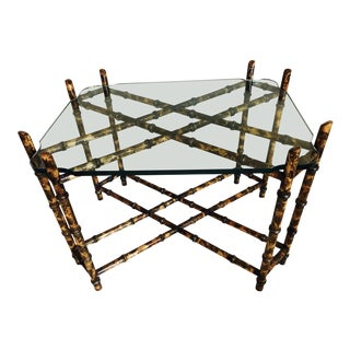 Bamboo & Cut Glass Vintage Side Table