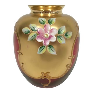 Gilded Ruby Red Bohemian Glass Bud Vase For Sale