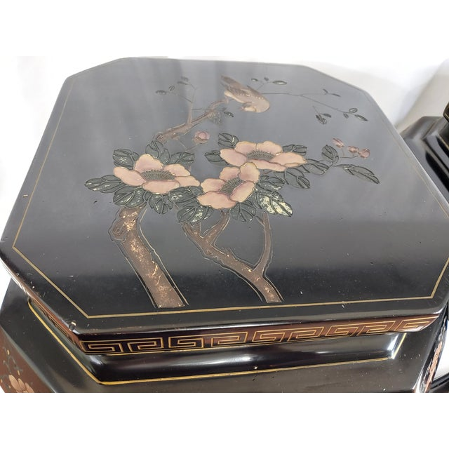 1950s Chinoiserie Jappaned Lacquered Side Tables - a Pair For Sale - Image 9 of 10