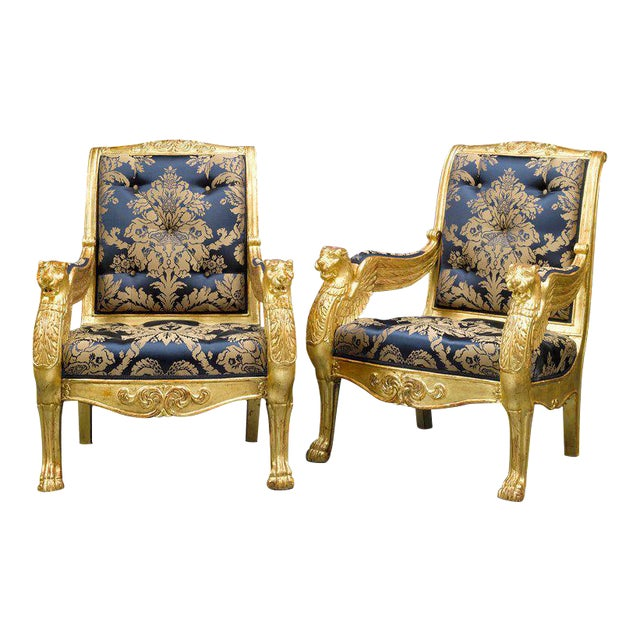 French Giltwood Armchairs - A Pair For Sale