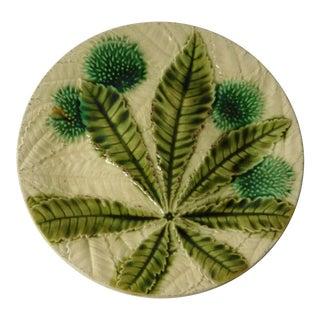 19th Majolica Chesnut Plate For Sale