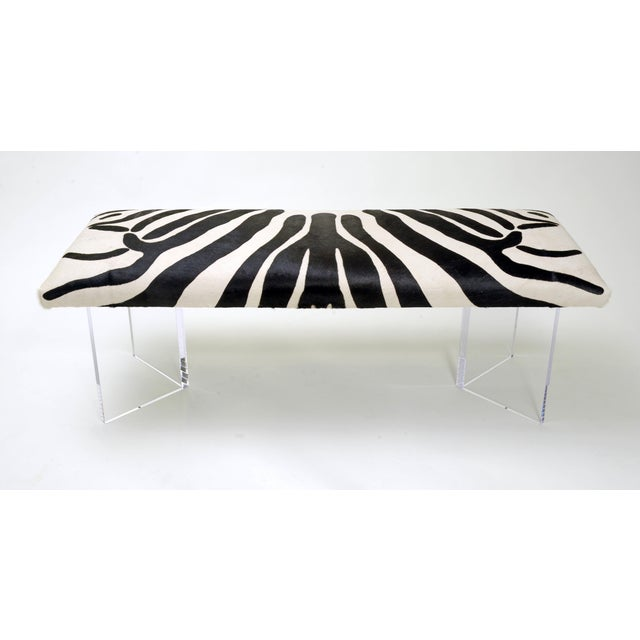 Modern V Zebra Black & White Bench For Sale - Image 3 of 3