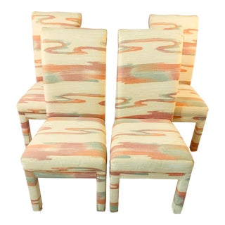 Vintage Mid-Century Parsons Tufted Chairs - Set of 4 For Sale