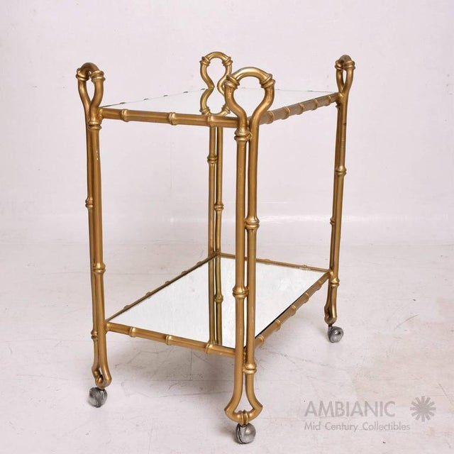 Mexican Modernist Faux Bamboo Service Cart, Attributed Arturo Pani For Sale In San Diego - Image 6 of 8