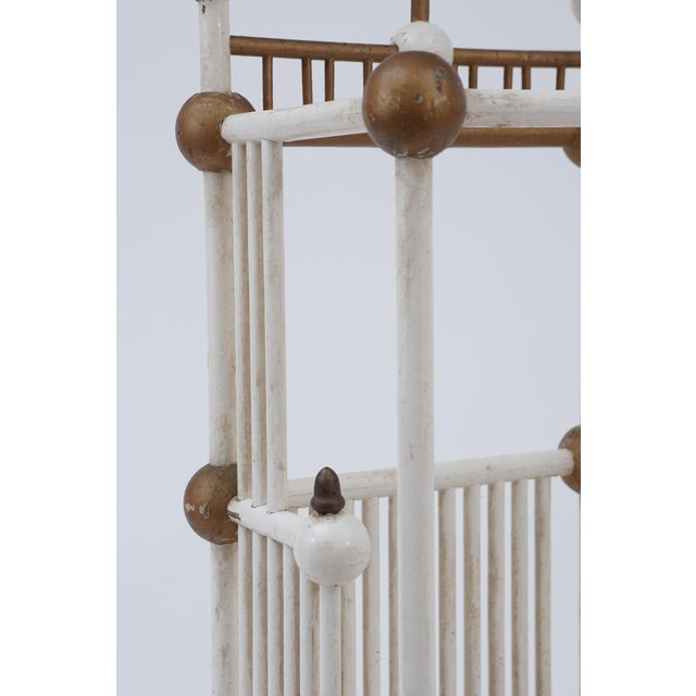 Late 19th Century White Painted Stick & Ball Umbrella Stand For Sale - Image 5 of 6