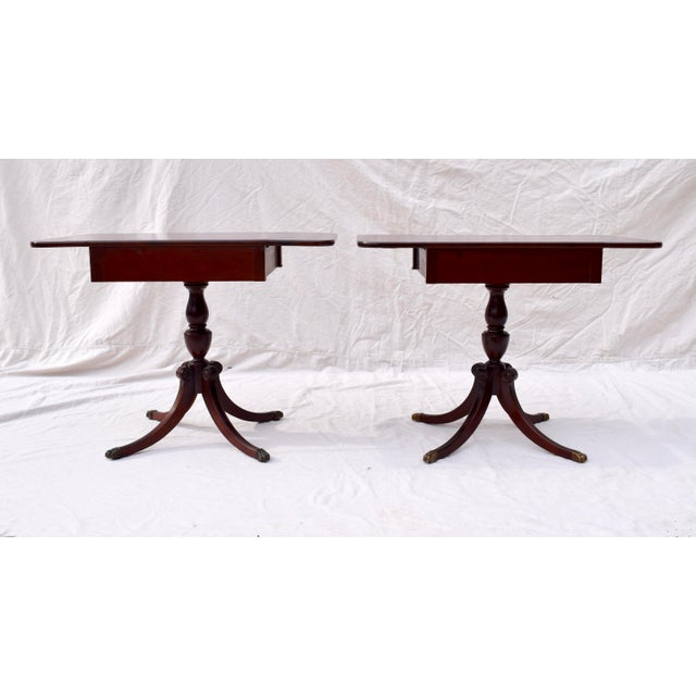 Mahogany Pembroke Tables With Inlay Detail, Pair For Sale - Image 12 of 13