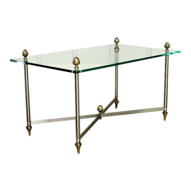 Vintage Brass Brushed Nickel X Base Coffee Table For Sale