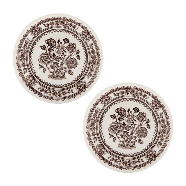 """Ivory Small English Ironstone Brown Transferware Plated """"Dorset"""" by Wood & Sons, Pair For Sale - Image 8 of 8"""