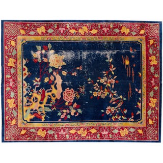 """Antique Hand-Knotted Blue Chinese Rug - 8'7"""" x 11'3"""""""