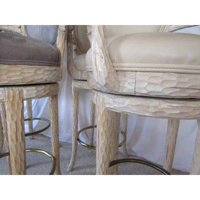 Faux Bois & Leather Upholstered Swivel Bar Stools - Set of 4 - Image 5 of 6