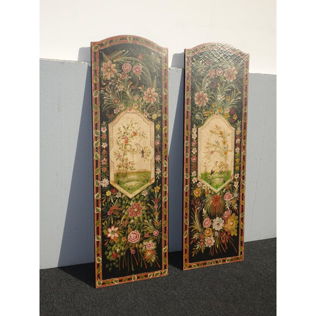 1970s Vintage French Country Maitland Smith Style Wall Panels Floral Pictures For Sale - Image 5 of 12