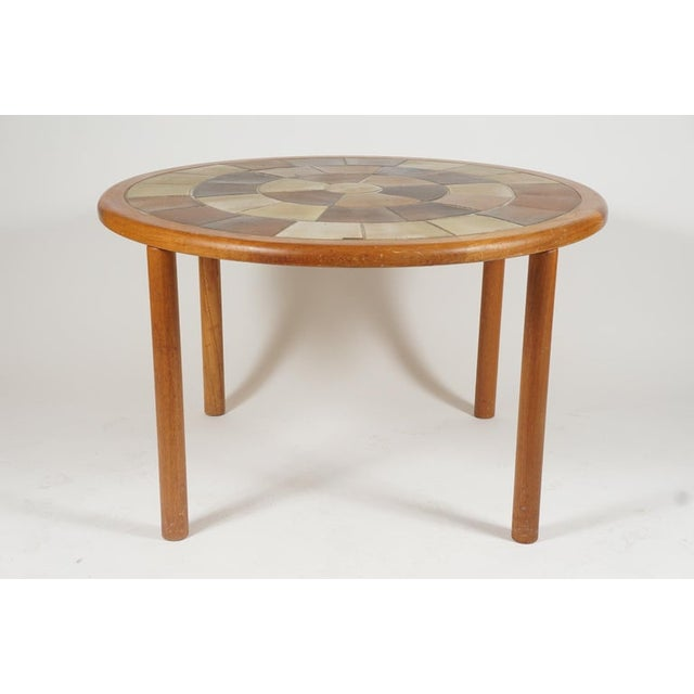 Contemporary Tue Poulsen Designed Ceramic Tile Dining/ Dinette Teak Table by Haslev For Sale - Image 3 of 10