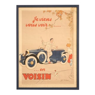 "Original 1922 ""I'm Going to See You in my Voisin"" Poster-Framed For Sale"