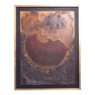 Modern Abstract Painting Bronze Metal Wall Art by Raul Monje 2003 For Sale