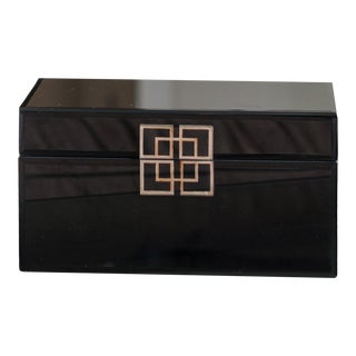 Black Glass Box with Silver Geometric Design For Sale