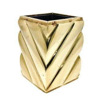 Vintage Hollywood Regency Brass Pencil Holder Vase