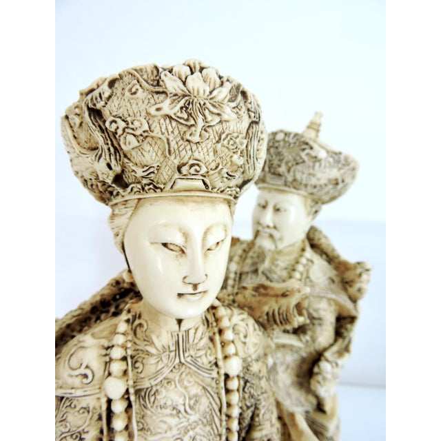 Wood Vintage Chinese Faux Ivory Emperor and Empress Statues or Figures - a Pair, With Stands For Sale - Image 7 of 11